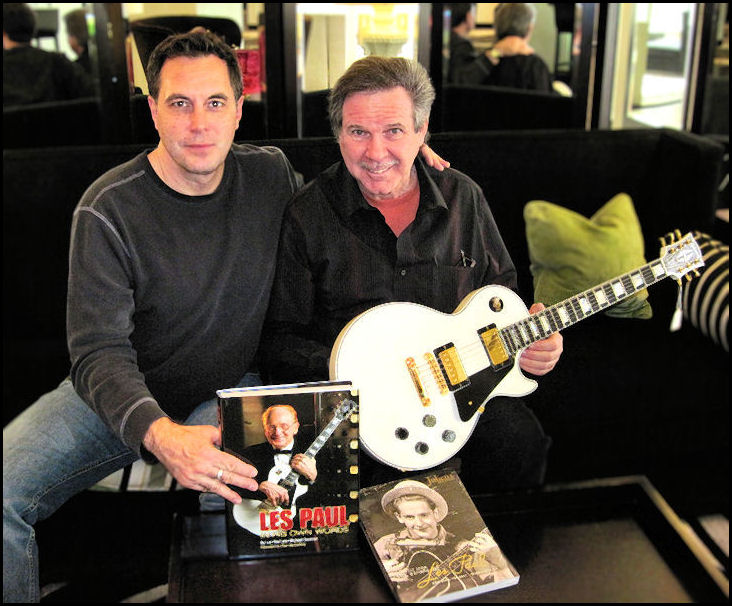 Max Stavron and Tom Doyle with Les Paul's Personal White Custom